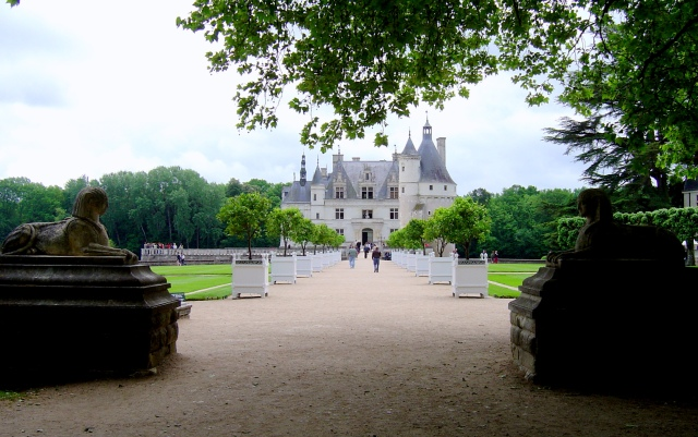 A primeira visão do Château Chenonceau