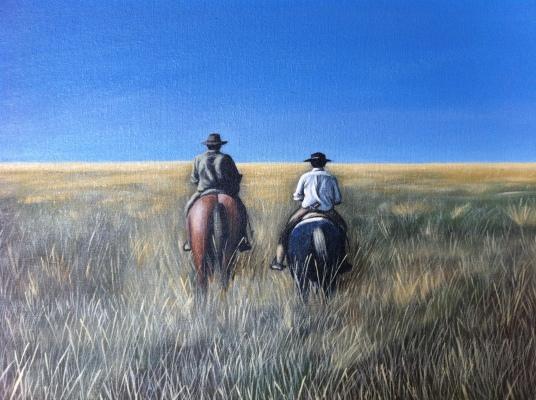 Quadro com gaúchos a cavalo - toda casa rural no RS tem um
